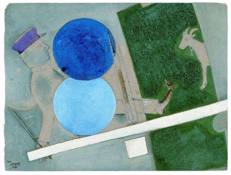 Marc Chagall - Composizione con cerchi e capra (Teatro d'arte ebraica) 1920