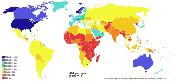 Countries by GDP per capita (Purchasing Power Parity) 2012