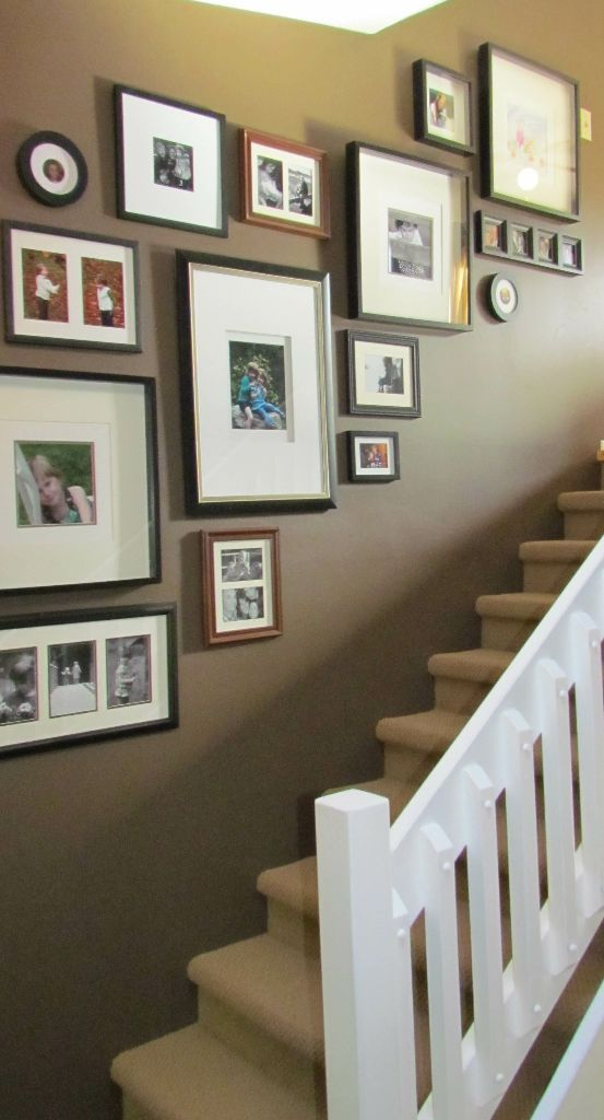 Some good tips here for displaying art on staircase.