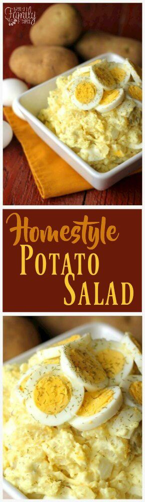 This Homestyle Potato Salad recipe is tried and true. It comes straight from Mom's recipe box and is always polished off at our family gatherings.