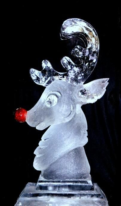 For that really crazy Christmas party, how about a Rudolph the Red-Nosed Reindeer Ice Sculpture!!