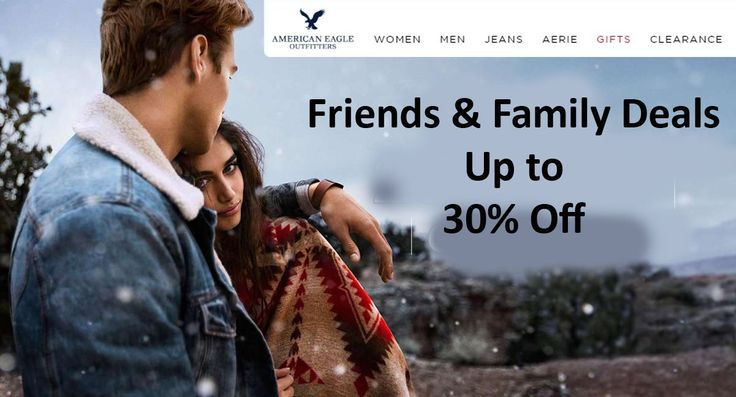 Friends & family deal up to 30% off American Eagle Outfitters items. For more promo codes & coupons visit: http://www.couponcutcode.com/stores/american-eagle-outfitters-uk/