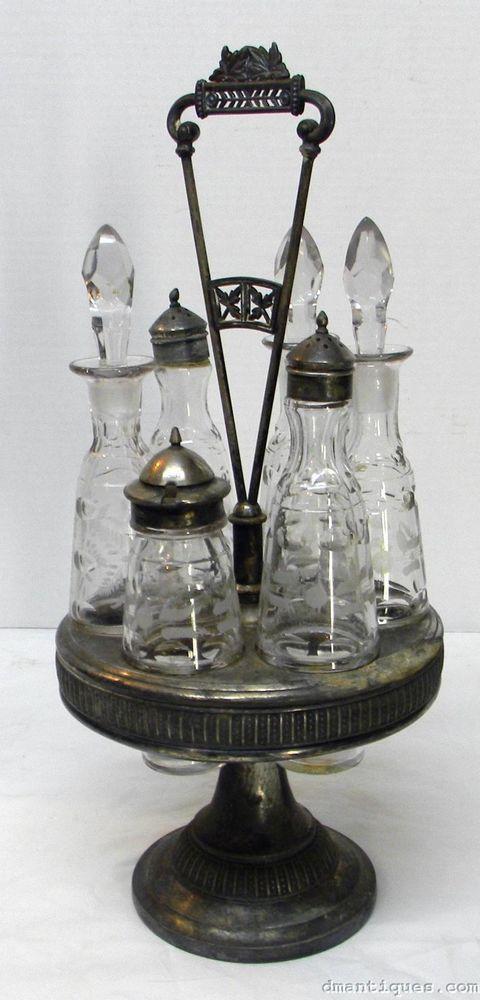 Antique Victorian 6-Bottle Etched Cruet Set Meriden Silverplate circa 1880's