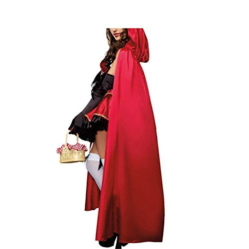 Halloween Dress Vitalismo Wench Little Hooded Cosplay Dress with Cape Gloves #Little Red Riding Hood Halloween Costume