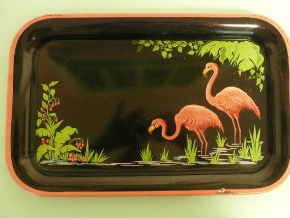 Vintage Flamingo Metal Tray Lithograph Black by NewLifeVintageRVs