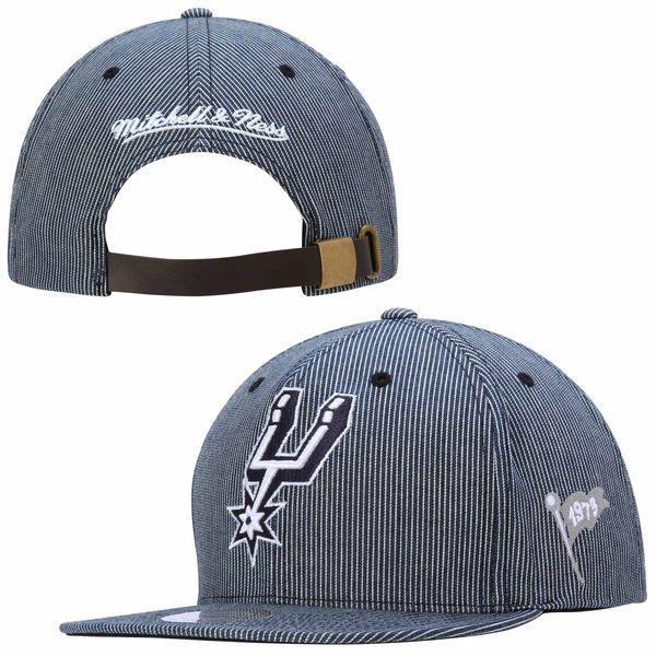 * San Antonio Spurs Mitchell & Ness Blue Engineer Stripe Strapback Hat, Your Price: $29.99