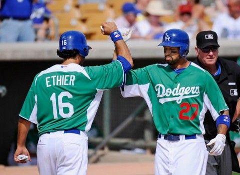 Matt Kemp >> Los Angeles Dodgers players wear green uniforms against ...
