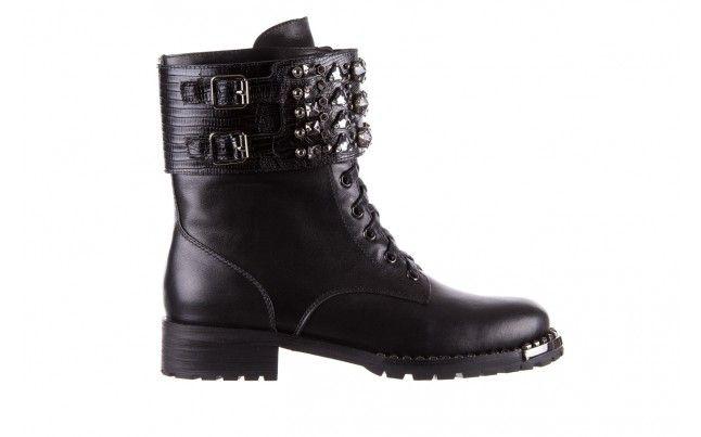 Bayla 144 9303 Czarne Trzewiki Czarne Trzewiki W Stylu Biker Boots Wykonane Z Naturalnej Skory Licowej Wokol Butow Gruby Pas O Boots Biker Boot Combat Boots