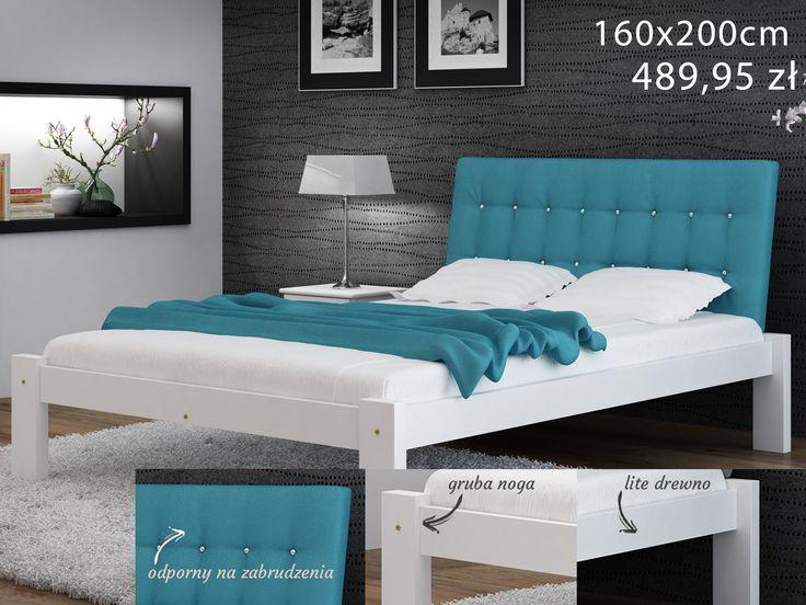 #Sosnowe #łóżko z tapicerownym, pikowanym #zagłówkiem, w modnym, turkusowym kolorze. Uatrakcyjni każdą #sypialnię! Świetnie sprawdzi się w jasnych pomiszczeniach w połączeniu z dekoracjami w tym samym kolorze! Zapraszamy do naszego sklepu: http://bit.ly/2HEsJFC