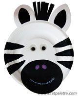 Plato de papel Zebra artesanía