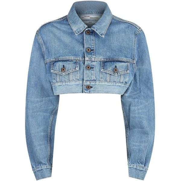 Off-White Cropped Denim Jacket (€705) ❤ liked on Polyvore featuring outerwear, jackets, jean jacket, denim jacket, cropped denim jacket, letter jacket and cropped jacket