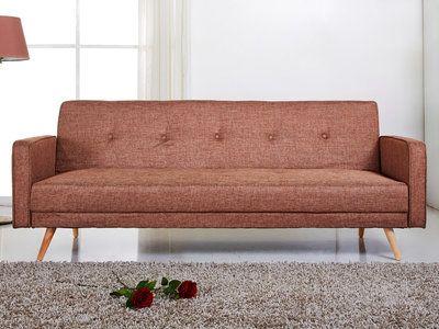 Canapé clic-clac tissu 2 places + pieds bois design LILI