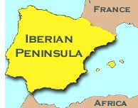 With Portugal, Spain makes up the Iberian Peninsula (Iberia) which is separated from the rest of Europe by the Pyrenees Mountains, bordered by the Mediterranean Sea (e), the straight of Gibraltar (s), the Atlantic Ocean (o) and the Bay of Biscay (n/o). Spain has more coastline than any other European country. close neighbour: Africa/Morocco.
