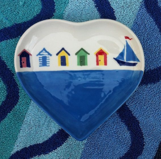 BEACH HUTS - Small Heart Shaped Plate hand painted 13cm x 12cm