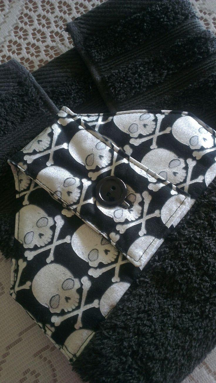Glow in the dark skulls , hanging towel. For sale online
