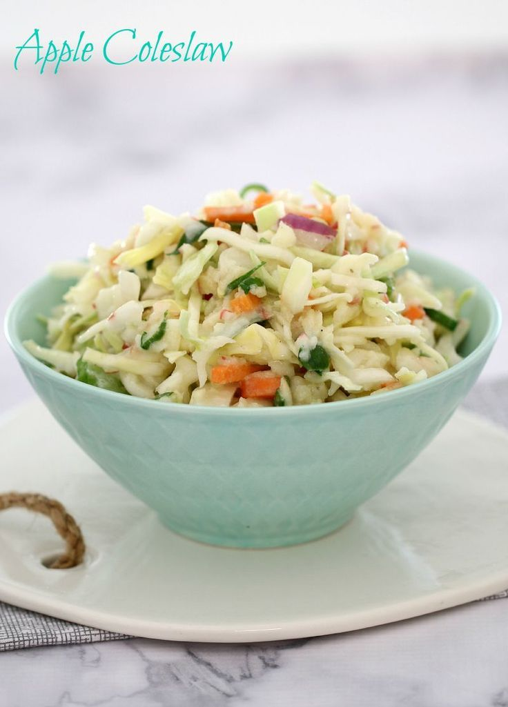 The most delicious Apple Coleslaw with KFC style creamy dressing! Perfect for pulled pork burgers or BBQs! | Bake Play Smile #apple #coleslaw #slaw #easy #KFC #dressing