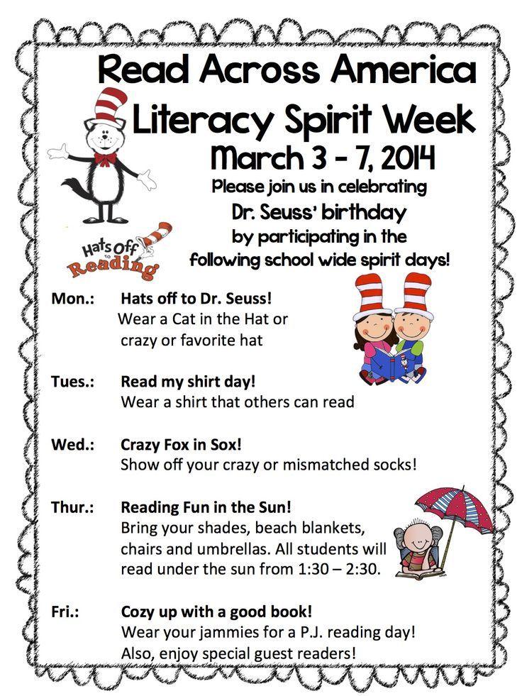 Read across America Week | Read Across America Spirit Week