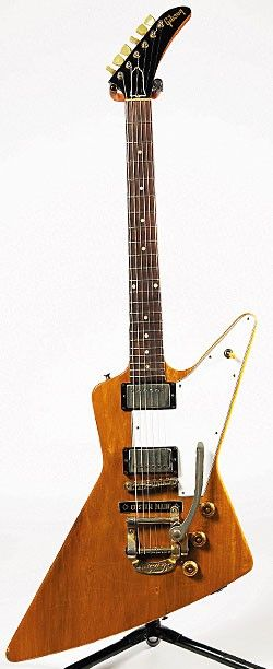 A very rare, 1958 Gibson Explorer. I love the Retro bigsby in this!     Gibson was sure ahead of their time when they released this beauty!