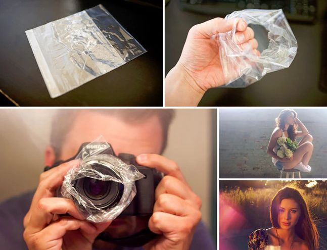 Create photo haze with a sandwich bag