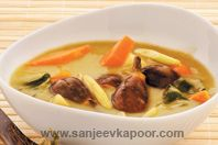 Thai green curry with vegetables - The famous dish from Thailand - mixed vegetables in green curry paste