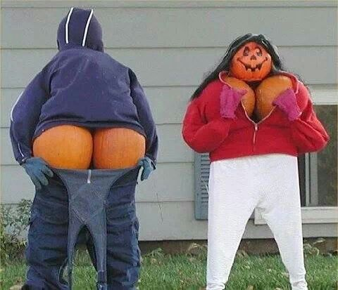 Funny Halloween pumpkin scarecrows