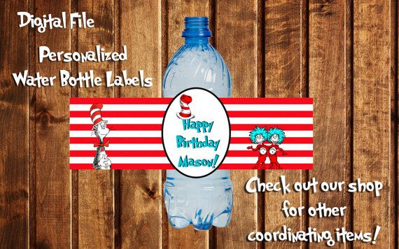 Cat in the Hat Bottle Label, Dr Seuss Birthday, Dr Seuss Party, Dr Seuss Label, Cat in the Hat, Personalized, Thing 1 & Thing 2