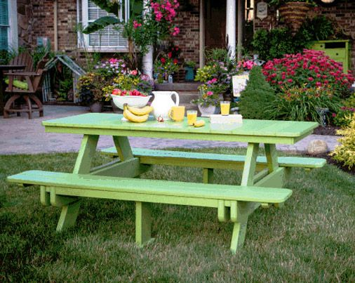 Our Amish Polywood Rectangular Picnic Table   Tons Of Colors To Choose From!