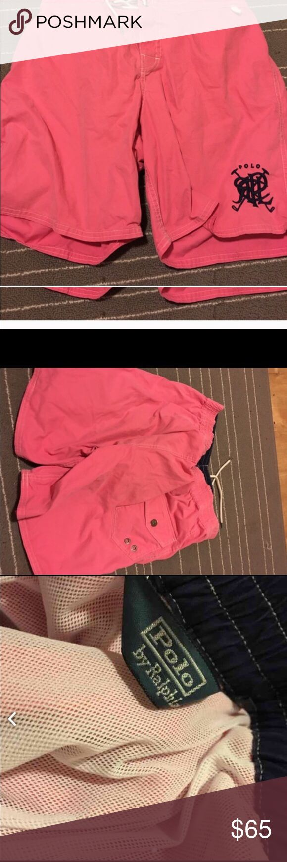 4 for $25💕PoloRalph Lauren swim shorts Polo Ralph Lauren swim shorts size large. Shell cotton/nylon lining polyester. Some elastic stretch in back top. Front ties and velcros. These are mens. Has polo logo on front. Pinkish color shorts. Back has one pocket that buttons closed. Has inside little open pocket. Has underwear lining for swimming. No returns final sale Polo by Ralph Lauren Swim Swim Trunks
