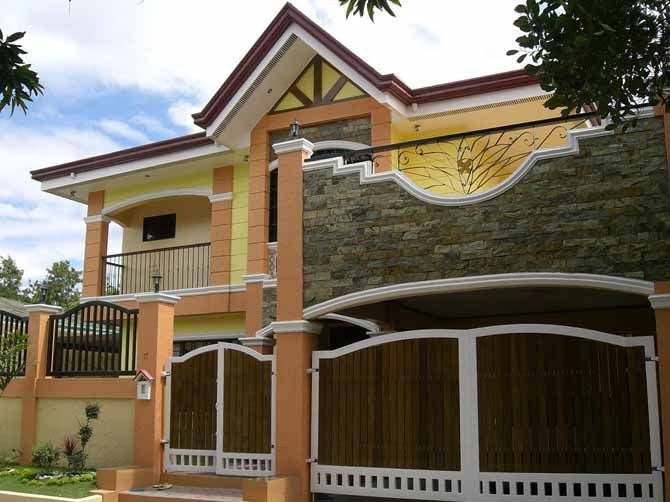 Marvelous House Design With Yellow Combined Orange Wall Paint Color And  Green Grass Also Modern Wooden Gates Idea