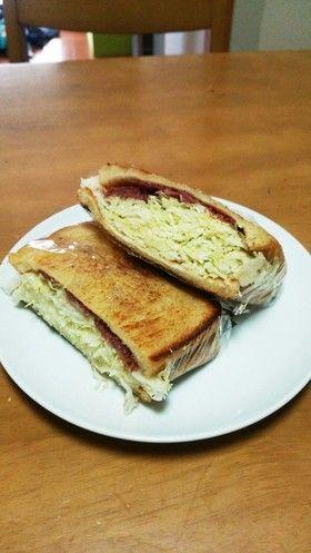 Canned corned beef & shredded cabbage sandwich コンビーフとキャベツのグリルサンド