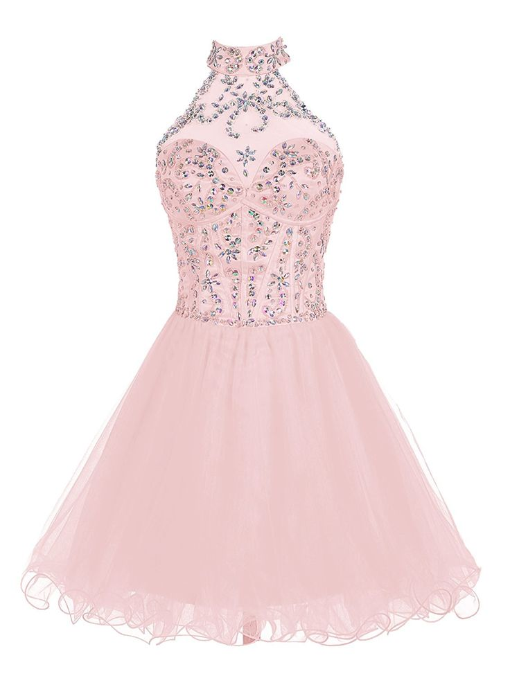 Wedtrend Women's Halter Homecoming Dress Short Beading Prom Gown CWT10032Blush2: Amazon.ca: Clothing & Accessories