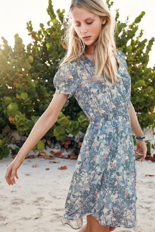 Buy Blue Floral Tea Dress from the Next UK online shop