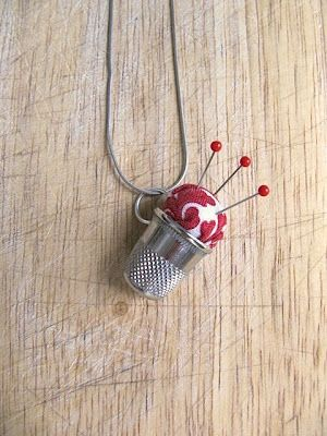 Thimble pin cushion necklace...cute and functional!