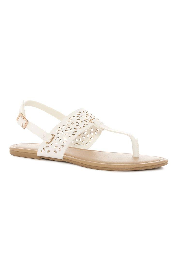 White Laser Cut T Bar Sandal