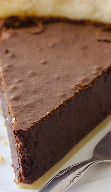 Chocolate Fudge Pie: homemade fudge pie with rich and dense, moist chocolate filling.