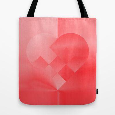 Danish Heart Love Tote Bag by Gréta Thórsdóttir - $22.00  #love #heart #girly #Christmas #red #scarlet #ombre #pattern #kids