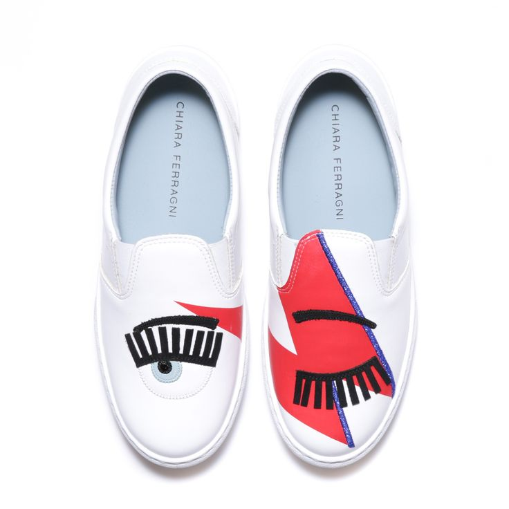 "White leather ""Flirting"" slip-ons with red, black and light blue patent embroideries. Light blue leather lining and insole. Made in Italy"