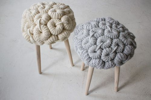 fun knitted stool cushions claire anne o%27brien 2 Knitted Stool Cushions by Claire Anne OBrien