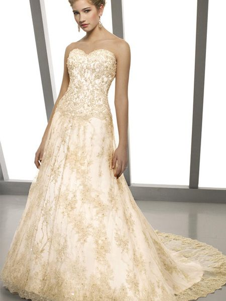 Nice Strapless Ruched Long Elegant V Neck Sweetheart Appliques Champagne Wedding Dress In Colorful Wedding Dresses Cheap wedding dresses in colors