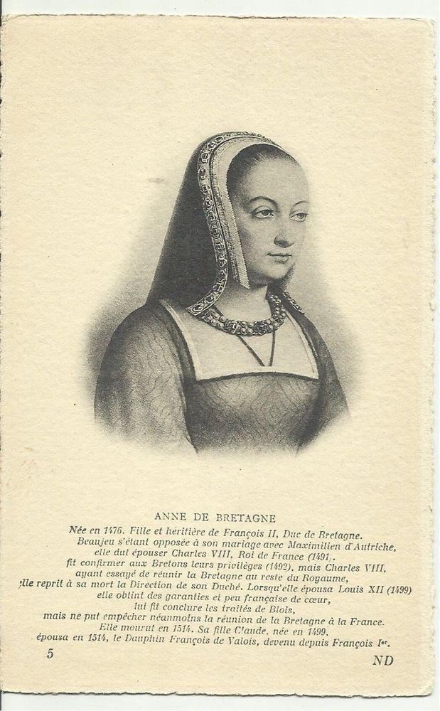 Antique Postcard ANNE DE BRETAGNE QUEEN OF FRANCE & DUCHESS OF BRITTANY Portrait