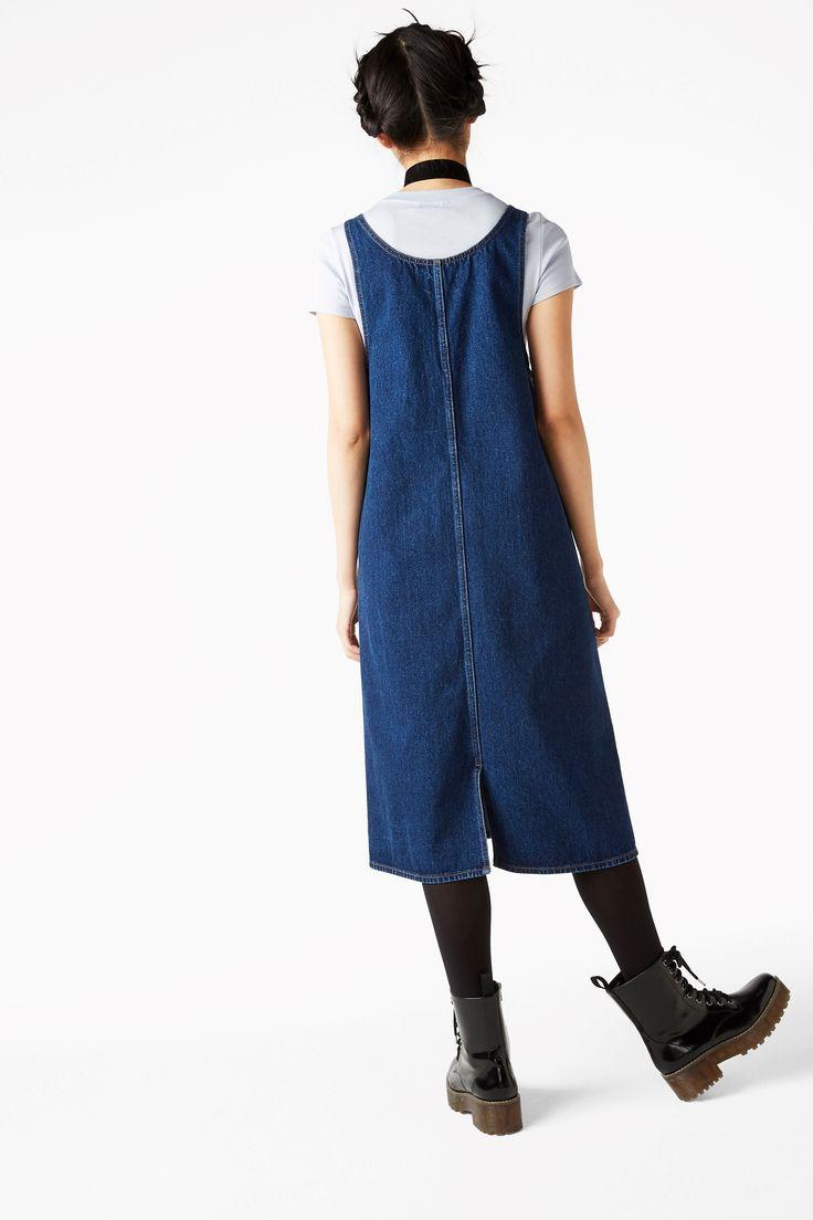 Monki, Denim dungaree dress in Blue Dark