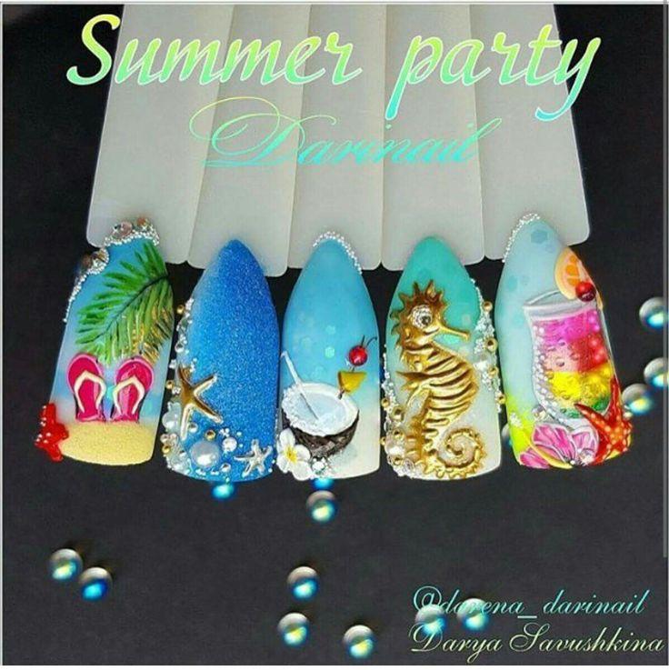 Summer verano 3d nail art