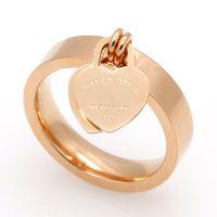 Venda quente famosa marca de moda Anel Luxo, Amor New Female anel de ouro anel de coração dupla pêssego para as mulheres jóias anel fino