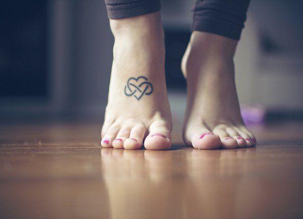 Infinity Heart Tattoo on foot - 45 Infinity Tattoo Ideas  <3 <3
