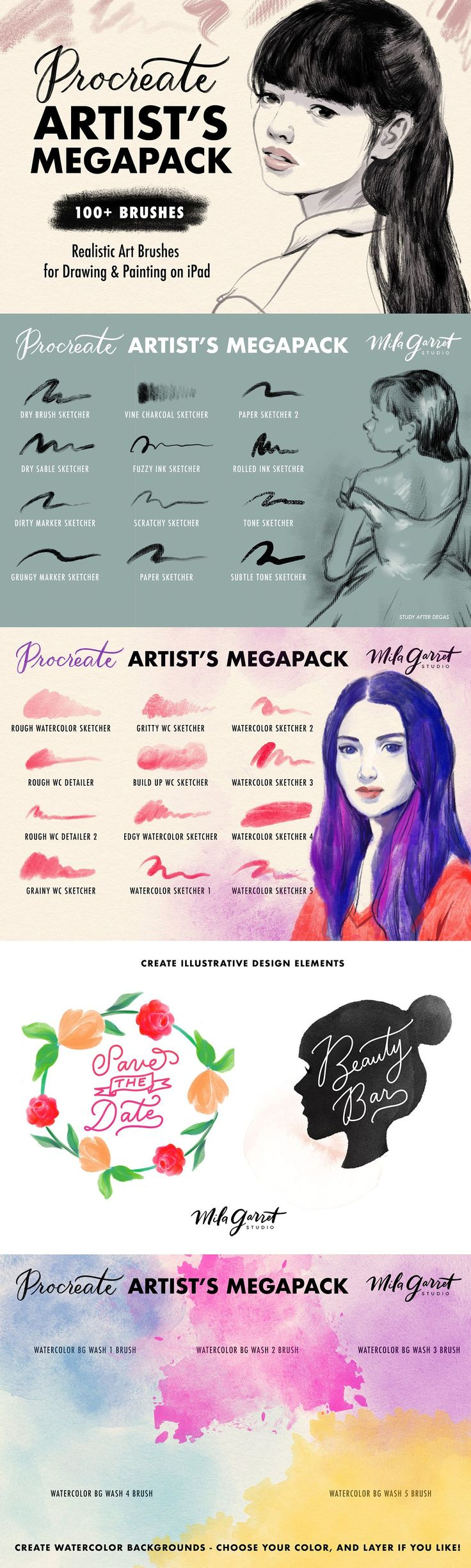Procreate Brushes: Artist's Megapack - Brushes - Hey artists and art lovers! I'm very excited to introduce you to my Artist's MEGAPACK for Procreate and iPad Pro. This pack contains over 100 custom Procreate brushes for drawing and painting, featuring realistic textures like watercolor, charcoal, ink, oil paint, and more.