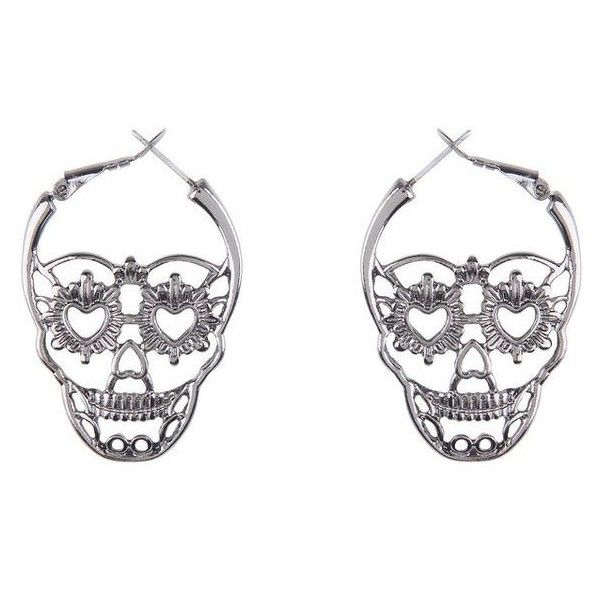 Hematite Sugar Skull Hoop Earrings Hot Topic ❤ liked on Polyvore featuring jewelry, earrings, skull jewellery, skull jewelry, earring jewelry, hoop earrings and hematite jewelry