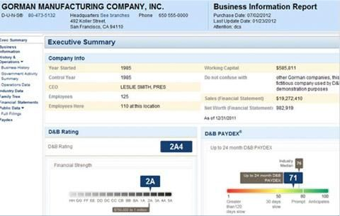 Sample of a D\B Credit Report and Credit Score EntreMarketing - sample company report