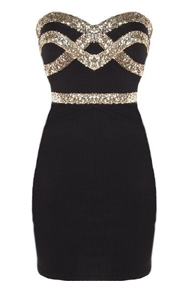 Black Diamond Dress: Say hello to the most desired dress in the world! Features an ultra feminine sweetheart neckline, glittering gold crossover design to the bodice, figure-flattering sequin waistband, and a sexy body-conscious silhouette to finish. ALL SIZES AVAILABLE!