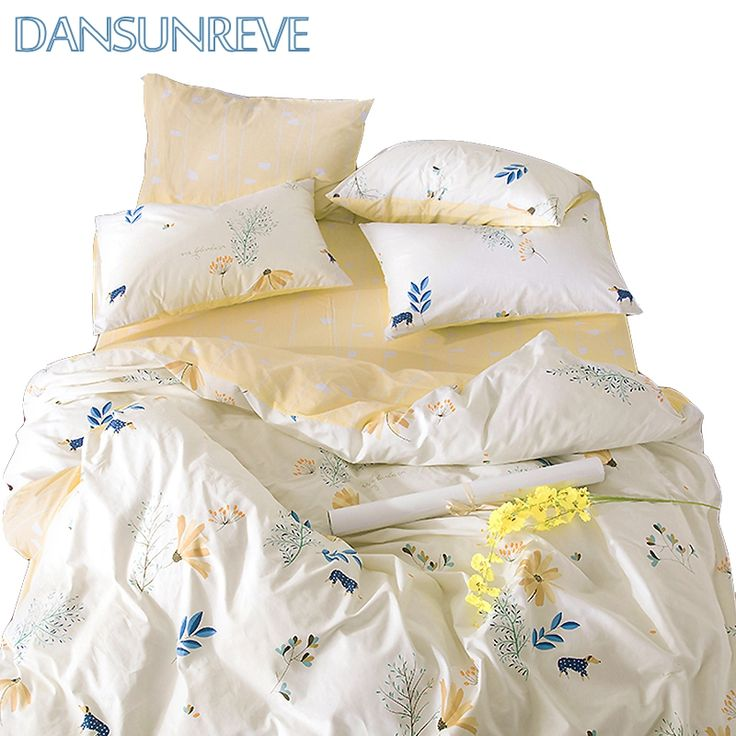 [$52.5-$60]Queen Bedding Set Bedding Set Yellow Bed Sheet Decorative Pillow Case Cotton Print Bedding Sets Bed Set Twin Size Duvet Cover