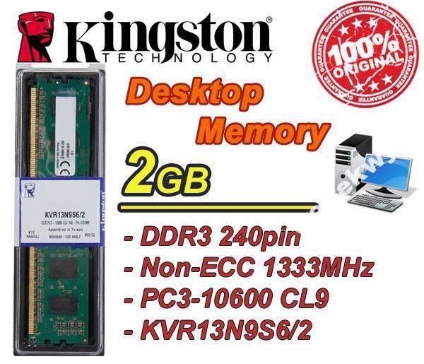 NOWA PAMIĘĆ KINGSTON 2GB DDR3 1333MHZ CL9 BOX